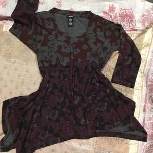Premise long sleeve grey burgundy tunic M